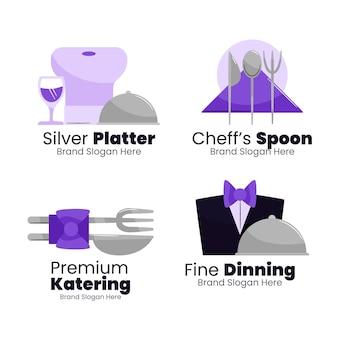 Набор плоских логотипов кейтеринга