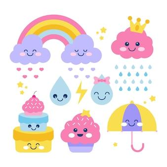 평면 디자인 chuva de amor 장식 요소 집합