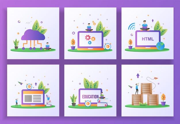 Набор плоский дизайн концепции. облачные вычисления, обслуживание, разработка сайтов, электронное обучение, онлайн обучение