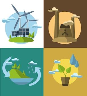생태학의 아이콘으로 평면 디자인 컨셉 일러스트 세트