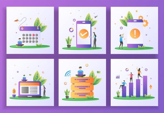 フラットなデザインコンセプトのセット。スケジュール、アプリケーションチェック、アプリケーションエラー、管理、ビッグデータ、データ分析。