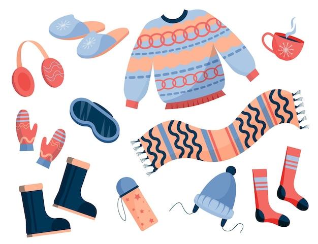 평면 디자인 아늑한 겨울 옷 세트