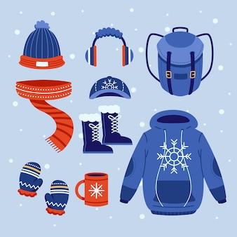 フラットなデザインの居心地の良い冬服のセット