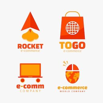 フラットデザインのeコマースロゴのセット