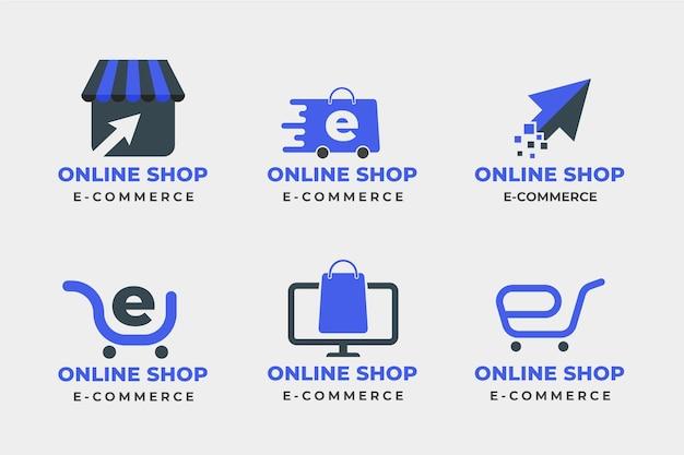 Набор плоских логотипов электронной коммерции