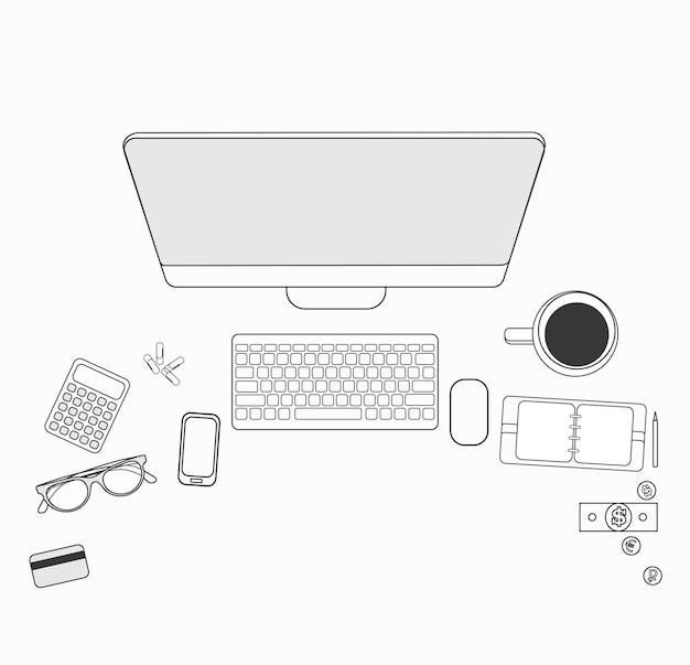 デスクトップ用のフラットなデザインのセットです。ラインアイコンフラットデザイン要素。現代のベクトルのピクトグラム。
