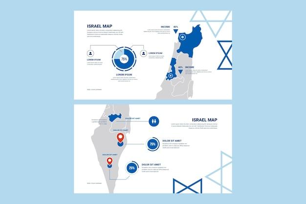 フラットなデザインのインフォグラフィックイスラエル地図のセット