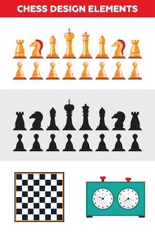 Набор плоских дизайнерских изолированных черно-белых шахматных фигур