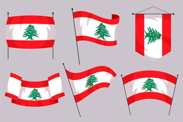 평면 디자인 레바논 깃발의 세트