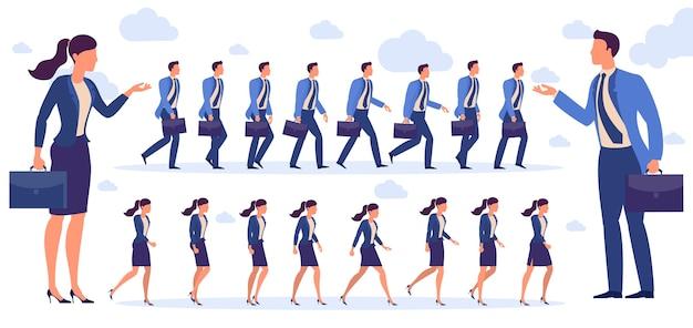 Набор плоских дизайнов мужчина и женщина персонаж анимации