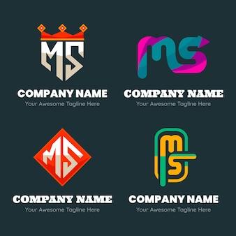 Набор плоских шаблонов логотипов ms