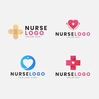 평면 디자인 간호사 로고 세트