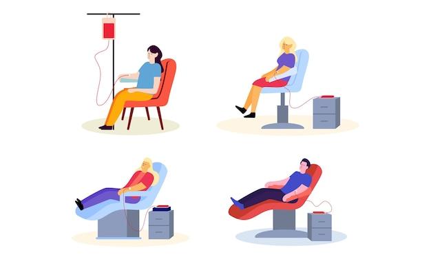 血の図を寄付する人々のフラットなデザインのセット