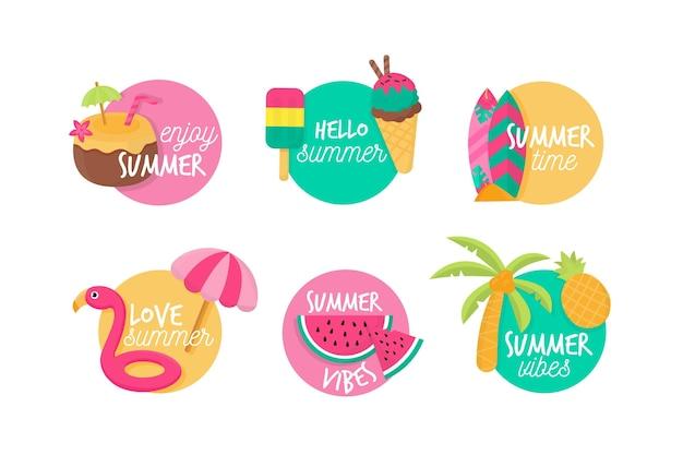 Набор плоских дизайнерских летних значков