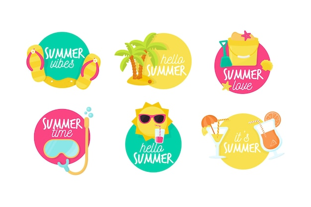 Набор плоских дизайнерских летних этикеток