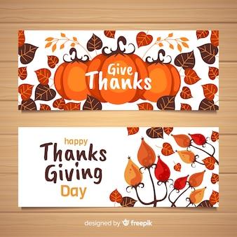 Набор плоских дизайнерских баннеров благодарения