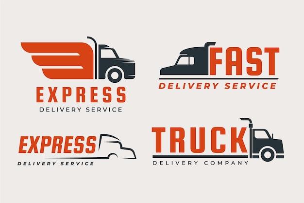 평면 디자인 트럭 로고 세트