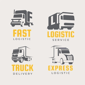 Набор логотипов грузовиков с плоским дизайном