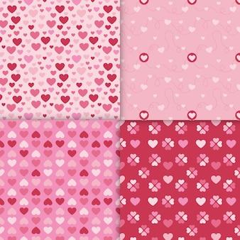평면 디자인 발렌타인 패턴의 집합