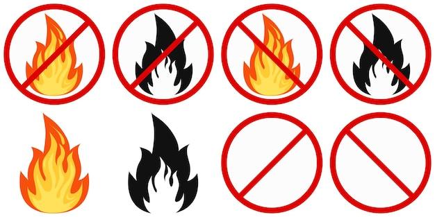 평면 디자인 벡터 화재 및 화재 표시 없음 - 흰색으로 격리된 빨간색 원에서 색 및 검은색 화재가 교차되었습니다.