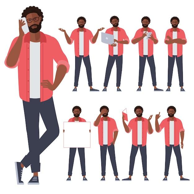 フラットなデザインの若い黒人アフロアメリカ人男性キャラクターのセット
