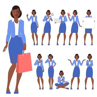 フラットなデザインの若い黒人アフロアメリカ人女性キャラクターのセット
