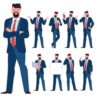 フラットなデザインの青年実業家キャラクターのセット