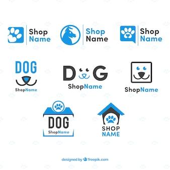 Set of flat dog logos in blue tones