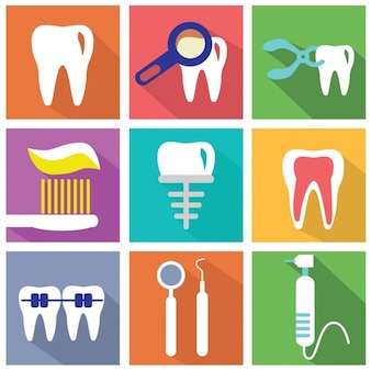 Set of flat elements about dentists