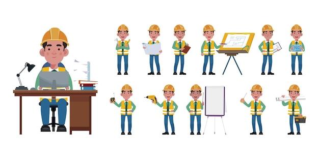 Набор плоского инженера с разными позами