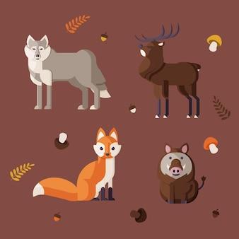 平らな森の動物のセット