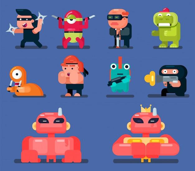 Набор плоских игровых персонажей