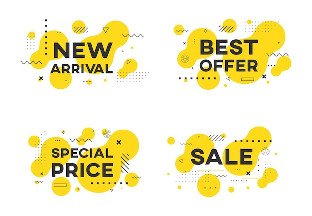 평면 기하학적 판매 프로 모션 배너 벡터 디자인의 집합입니다. 새로운 도착, 최고의 제안, 특별 가격 스티커.