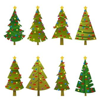 편평한 녹색 크리스마스 트리 세트