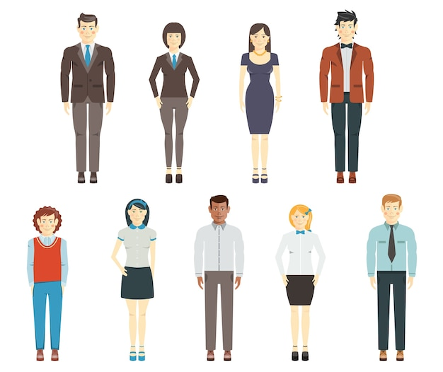 Набор плоских человеческих персонажей, молодых мужчин и женщин, членов группы или команды корпоративных сотрудников, одетых в офисную или официальную одежду в полный рост на белом