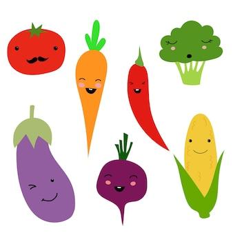Набор плоских иконок, помидоров, моркови, свеклы, кукурузы, баклажанов, брокколи, перца чили