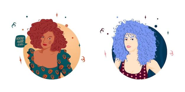 물결 모양의 금발 머리를 가진 귀여운 라티나 소녀의 평면 그림 벡터 그래픽의 집합입니다. 갈색 아름다운 소녀