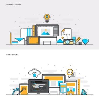 グラフィックデザインとwebデザインのフラットラインカラーバナーデザインコンセプトのセットです。コンセプトウェブバナーと印刷物。ベクトルイラスト