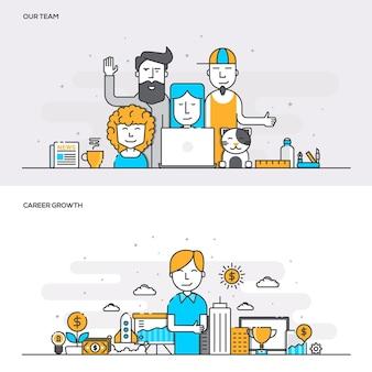 우리 팀 및 경력 성장을위한 플랫 라인 컬러 배너 디자인 개념의 집합입니다. 개념 웹 배너 및 인쇄물. 벡터 일러스트 레이 션