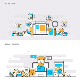 ソーシャルメディアとソーシャルマーケティングのためのフラットラインカラーバナーデザインコンセプトのセット。コンセプトウェブバナーと印刷物。ベクトルイラスト