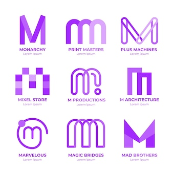 Набор плоских шаблонов логотипа m