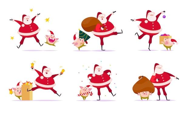 Набор плоских веселых рождественских иллюстраций с санта-клаусом и милыми свиньями-эльфами-компаньонами в разных ситуациях