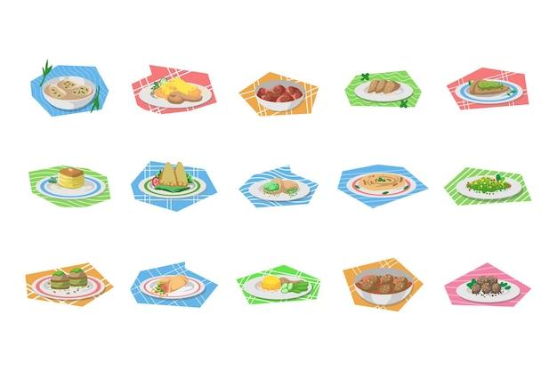 フラット中東料理イラストのセット