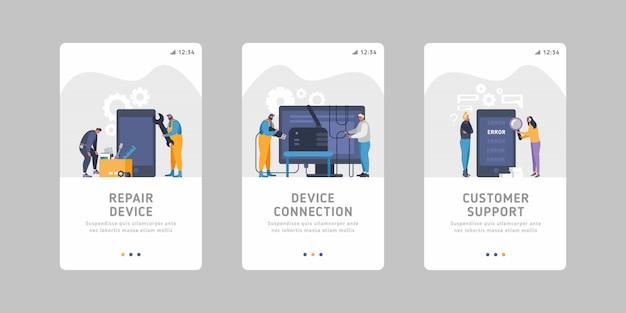 장치 서비스 비즈니스 장치 유지 관리, 처리, 장치 수리, 연결 문제, 잘못된 신호, 스마트 폰 오류에 대한 평면 모바일 슬라이더 템플릿 집합입니다.