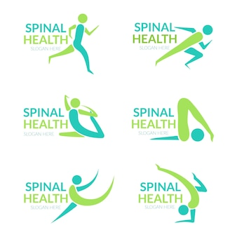 Набор плоских шаблонов логотипа физиотерапии