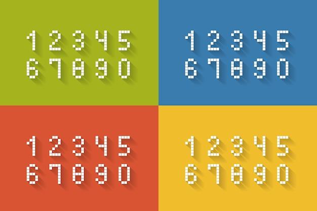 네 가지 색상의 평면 픽셀 숫자 집합은 9 개의 벡터 일러스트를 통해 0을 완료합니다.