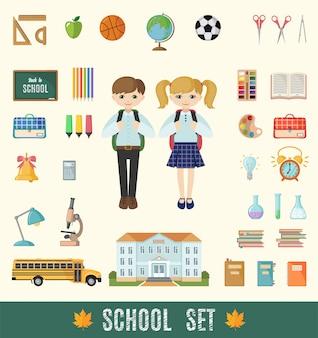 Набор плоских школьных иконок