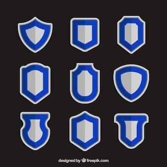 Set of flat shields with blue outline