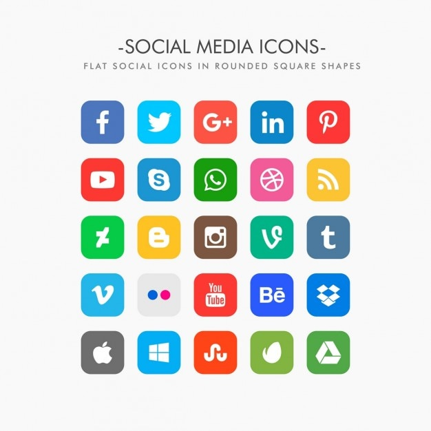 Free Set Of Flat Social Media Icons Svg Dxf Eps Png Free