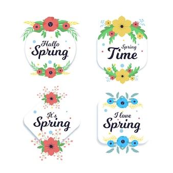 平らな春バッジのセット